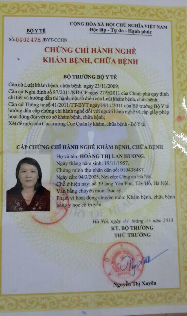Chứng chỉ hành nghề của bác sĩ Hoàng Thị Lan Hương