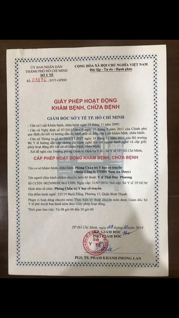 Giấy phép hoạt động phòng chẩn trị y học cổ truyền Nam An Dược (Cơ sở Tâm Minh Đường - miền nam)