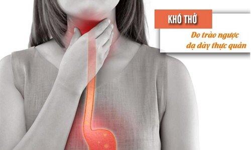 Axit dạ dày trào ngược làm kích thích phế quản gây khó thở